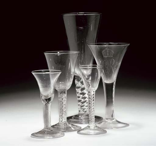 FIVE VARIOUS WINE-GLASSES AND