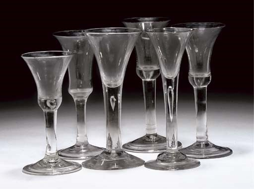 SIX VARIOUS PLAIN-STEMMED WINE