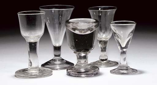 FIVE VARIOUS DRINKING-GLASSES
