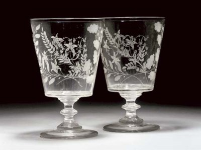 A PAIR OF ENGRAVED GLASS RUMME
