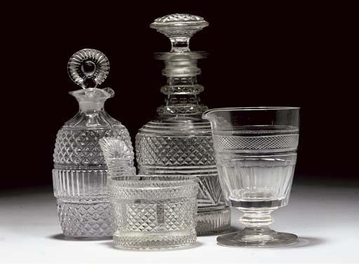A CUT-GLASS PIGGIN, TWO DECANT