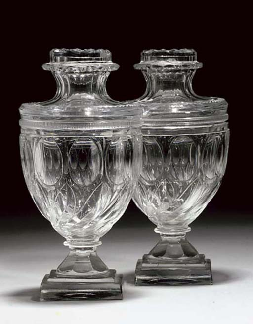 A PAIR OF CUT-GLASS SHOULDERED