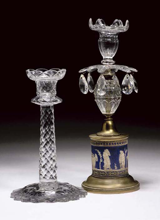 A CUT CANDLESTICK AND A WEDGWO
