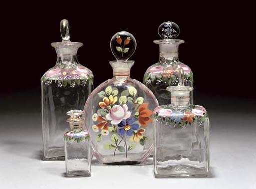 FIVE VARIOUS SCENT-BOTTLES AND