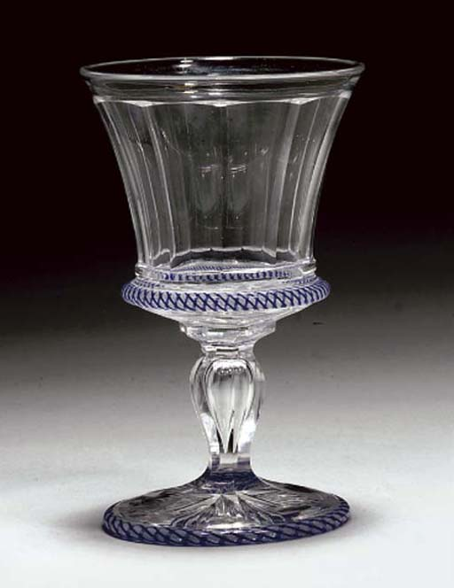 A CUT AND LATTICINIO GOBLET