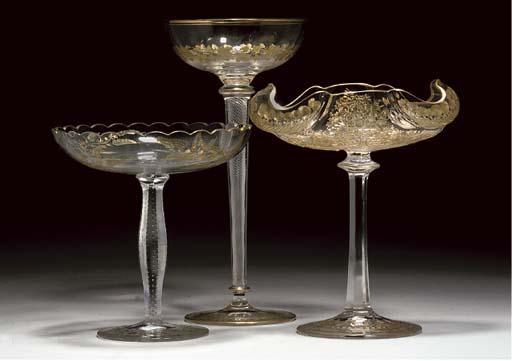 FOUR CONTINENTAL GILT GLASSES