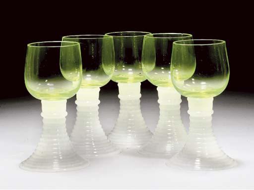 FIVE URANIUM-GREEN AND WHITE H