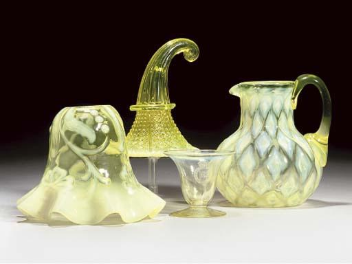 EIGHT ITEMS OF VASELINE GLASS