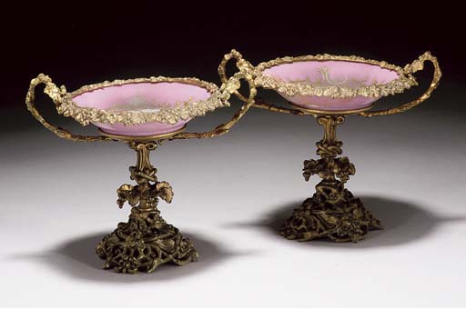 TWO SEVRES STYLE PINK-GROUND G