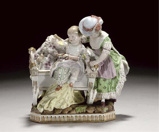 A MEISSEN GROUP OF A NURSE AND