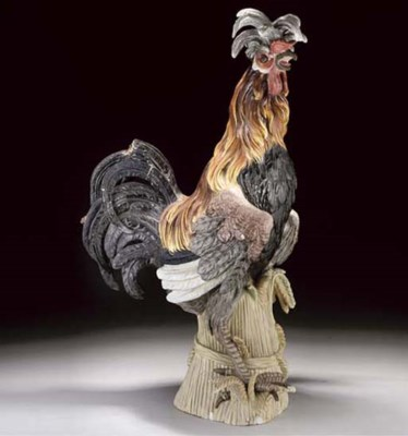 A MEISSEN MODEL OF A COCKEREL