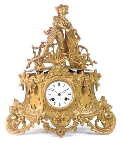 A Napoleon III gilt-spelter st