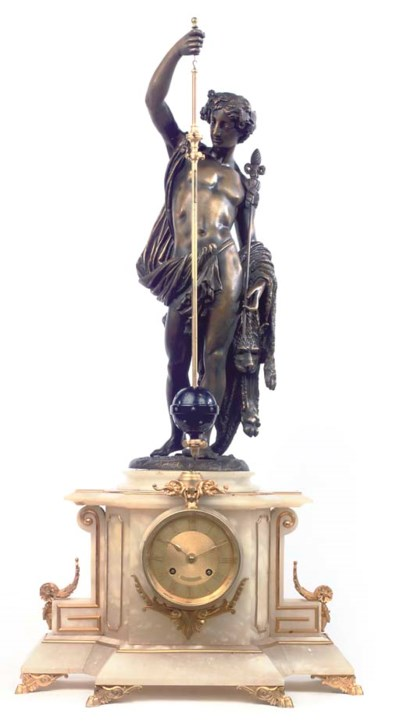A French onyx, gilt and patina
