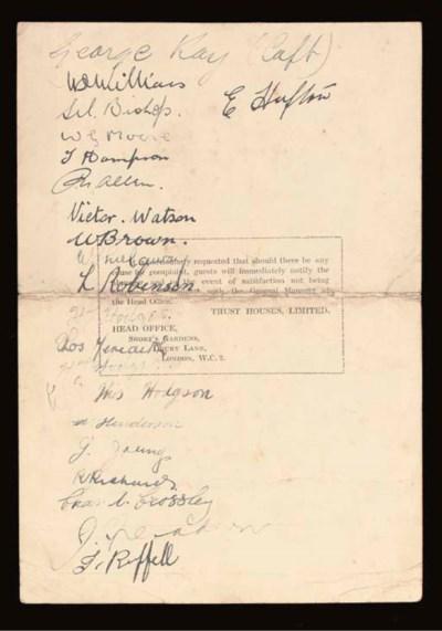 A 1922-23 MENU CARD
