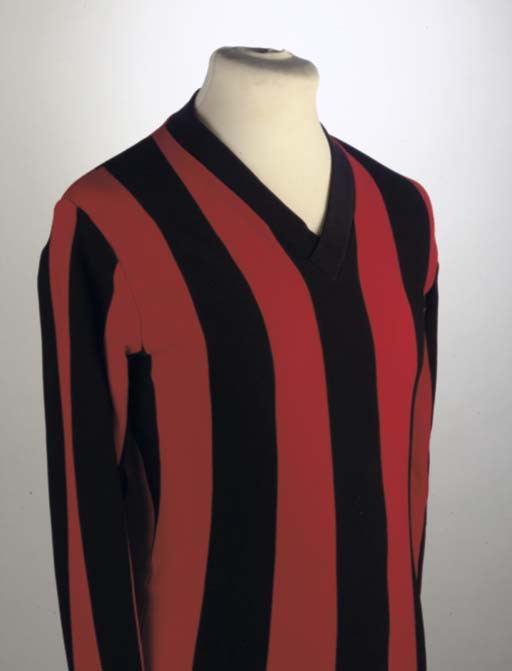 A RED AND BLACK FULHAM SHIRT