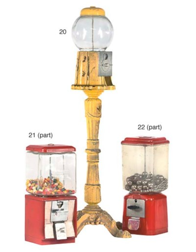A pedestal gumball machine