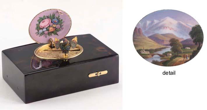 A fine singing bird box by Bru