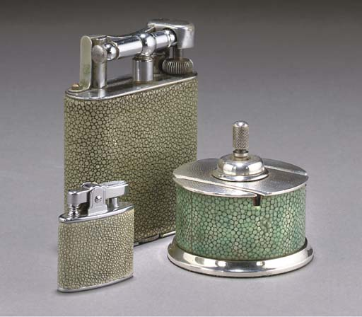 A DUNHILL SHAGREEN AND SILVERE