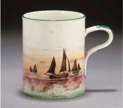 A WEMYSS TANKARD DECORATED WIT