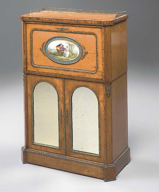 A VICTORIAN GILT-METAL AND PORCELAIN MOUNTED MAPLE AND TULIPWOOD INLAID SECRETAIRE CABINET