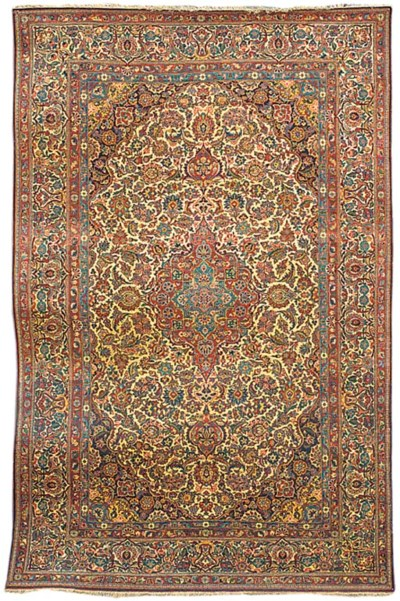 A fine part silk Kashan carpet