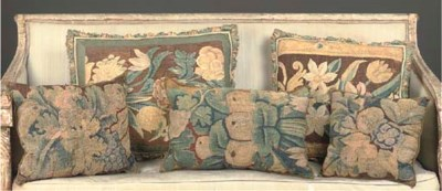 FIVE VERDURE TAPESTRY CUSHIONS