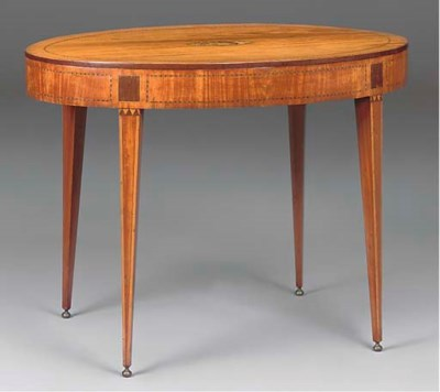 A DUTCH SATINWOOD AND MARQUETR