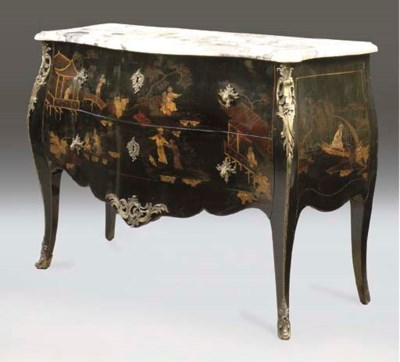 A LOUIS XV BLACK LACQUERED AND