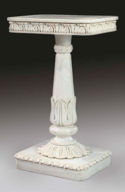 A WHITE MARBLE SIDE TABLE