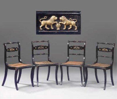A SET OF FOUR REGENCY EBONISED