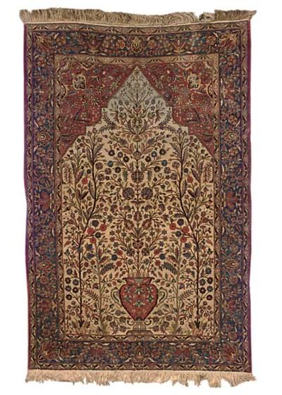 A fine silk Kashan prayer rug