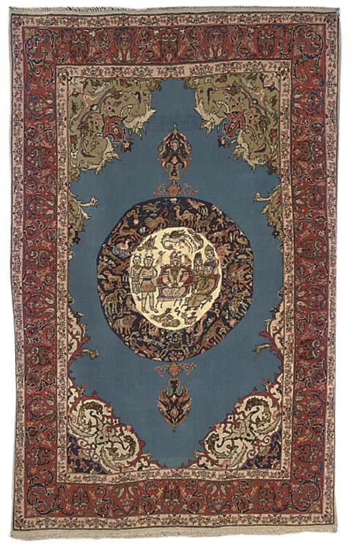 A fine part silk Isfahan rug