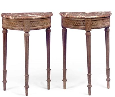 A PAIR OF FRENCH OAK DEMI-LUNE