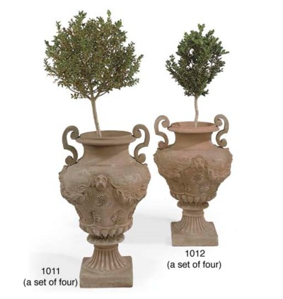 A SET OF FOUR TWIN-HANDLED TER
