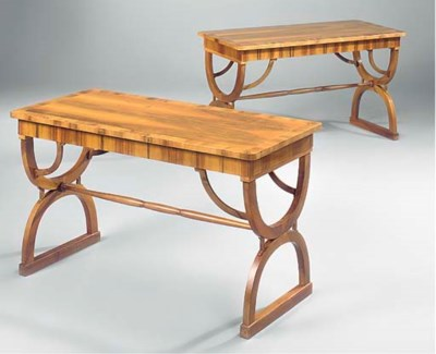 A PAIR OF WALNUT AND INLAID SI