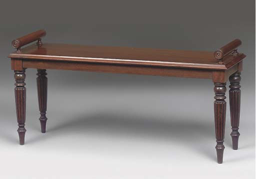 A MAHOGANY HALL BENCH
