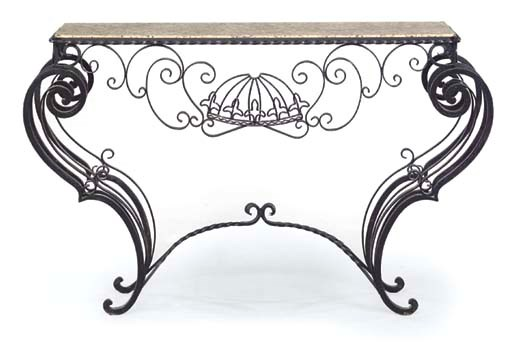 A FRENCH WROUGHT IRON AND GRAN