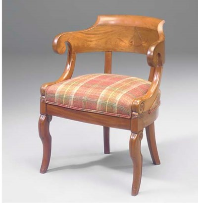 A FRENCH WALNUT FAUTEUIL DE BU
