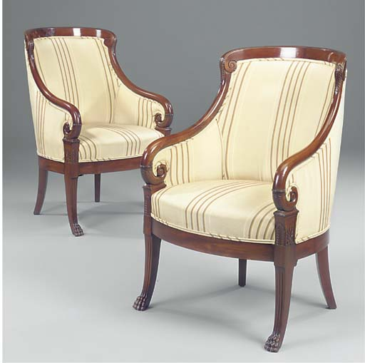 A PAIR OF DANISH CARVED MAHOGANY BERGERES