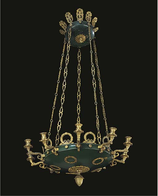 A GILT AND GREEN PATINATED BRA