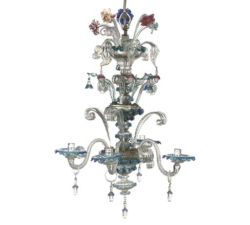 A VENETIAN GLASS FIVE-LIGHT CH