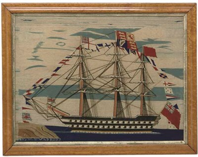 A SAILOR'S WOOLWORK PICTURE OF