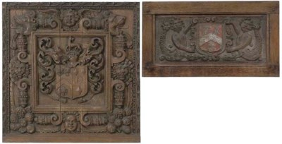 A CARVED OAK RELIEF ARMORIAL P
