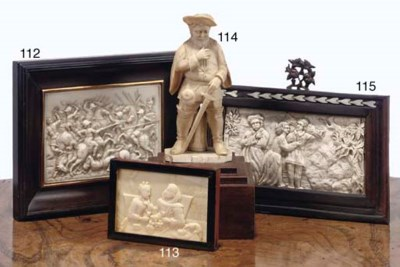 A CARVED IVORY RELIEF PLAQUE O