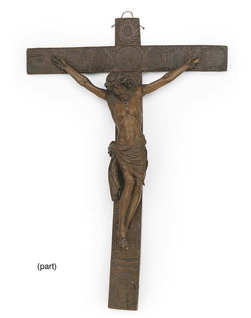 TWO FRENCH FRUIT-WOOD CRUCIFIX