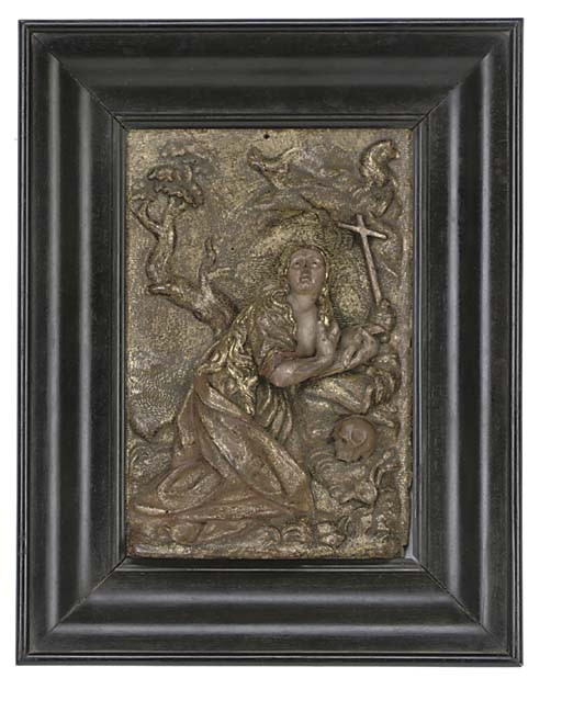 A SPANISH GILTWOOD RELIEF OF M