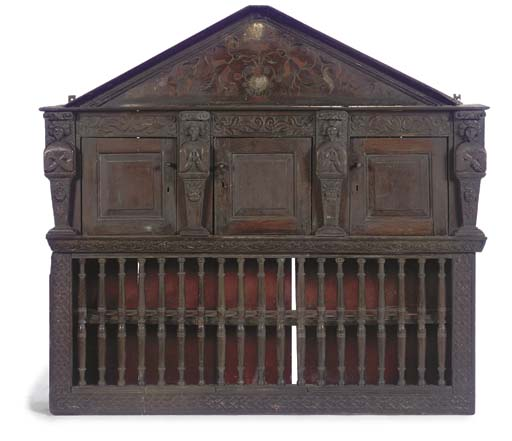 AN ENGLISH CARVED OAK MURAL CU