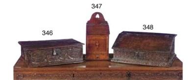AN ENGLISH CARVED OAK BOX