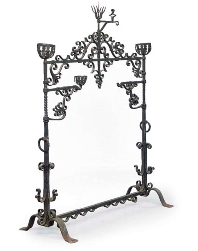 A WROUGHT IRON FIRE-SIDE SPIT