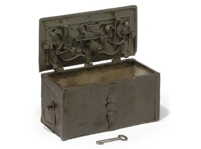 A GERMAN WROUGHT-IRON CASKET